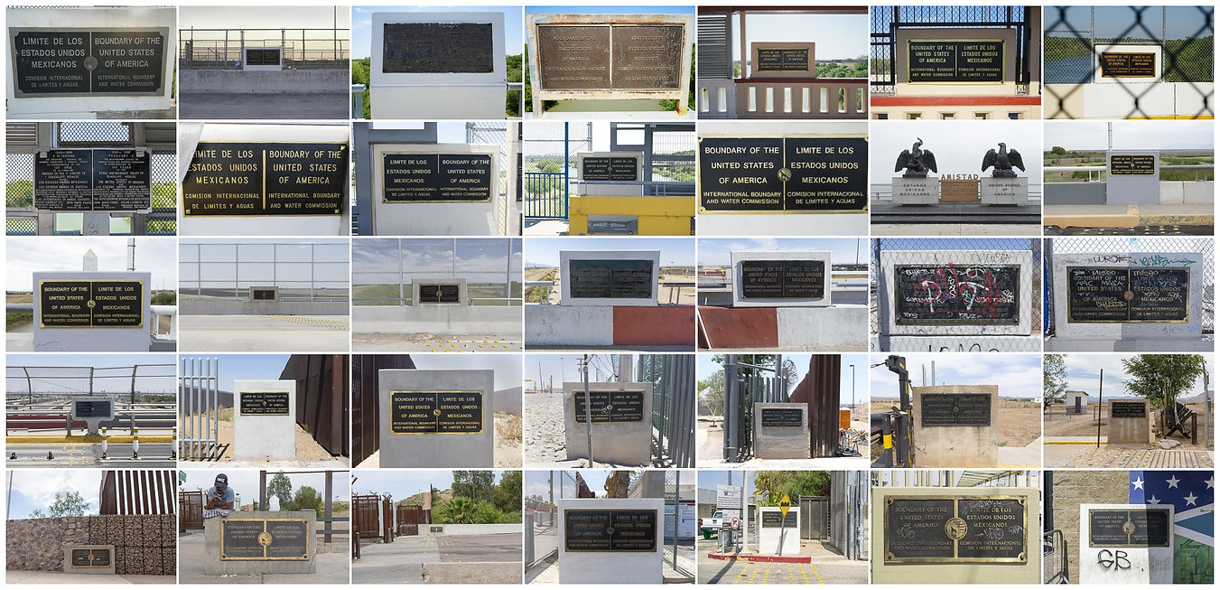 US & Mexico border crossing signs