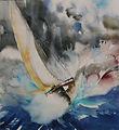 EN MER 2 aquarelle sur papier Arches gra