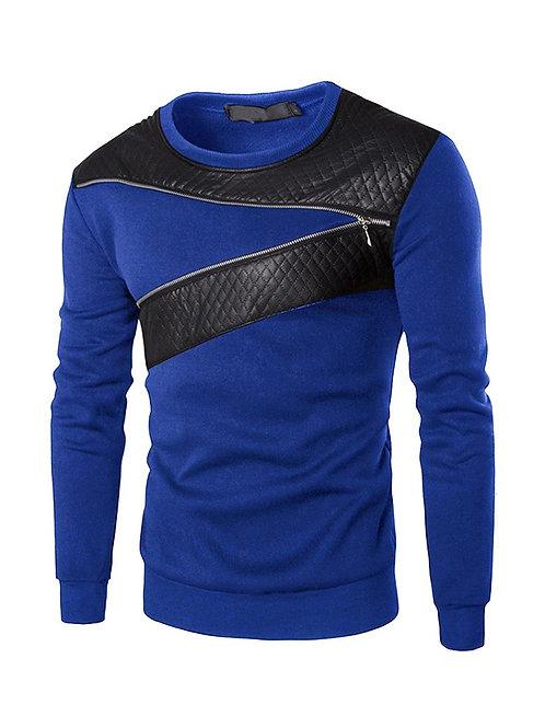 Leather Patchwork Zipper sweatshirt