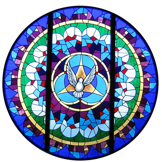 The stain glass window at Trinity Lutheran Church in Macomb Illinois