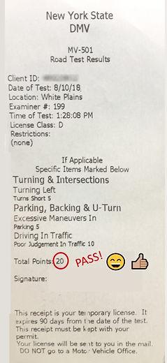 Road test result paper