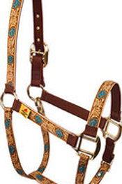 Red Haute Horse Halter - Leather Rose (Teal)