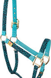 Red Haute Horse Halter - Teal Leopard