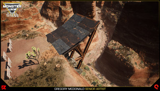 Here is an example of a jump created by my coworker Chris Kurash using the modular hangar assets to create a jump. This saved on texture memory and the assets could be instanced.