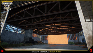 Inside shot with debris and the steel trusses. All of these pieces are modular so they can be used for other smaller assets throughout the abandoned airport.