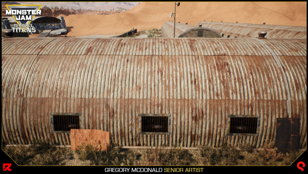 Here you can see how I am using an RGB mask to mix the corrugated metal with the rust texture I use on the hangar asset.