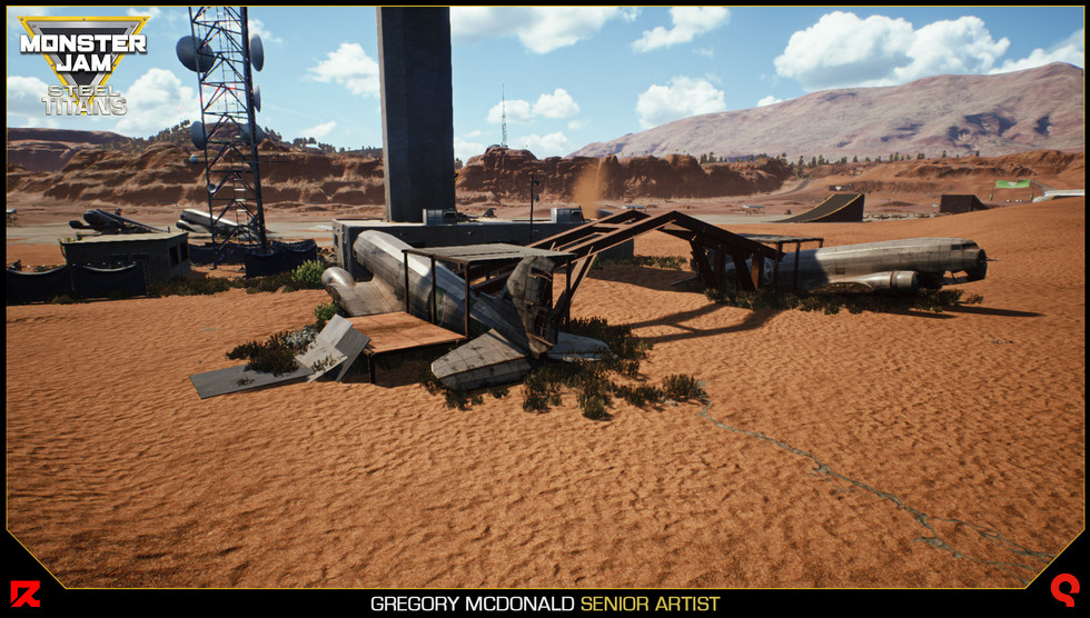 Here is another stunt obstacle created in the Monster Jam University world with the hangar assets.