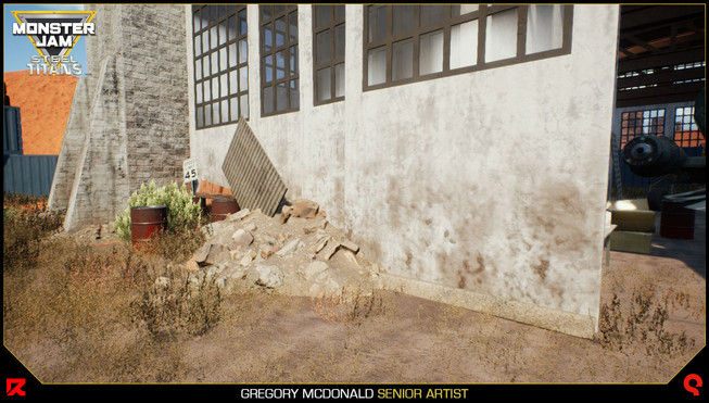 I used a mud and dust parameter created by our Tech Artist Stephane Roncada to simulate dirt and grime at the base of the walls for all of my assets.