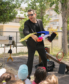 Magic show with Tristan at a kids party.