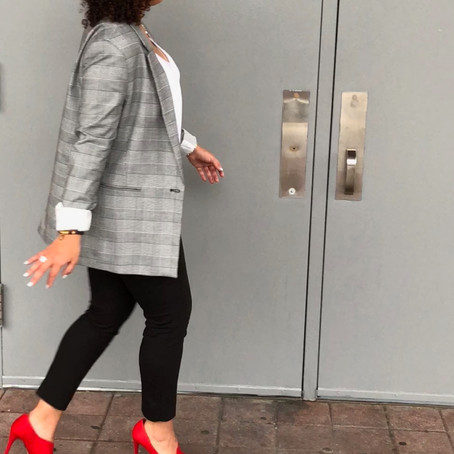 Oversized Blazer & Red Shoes