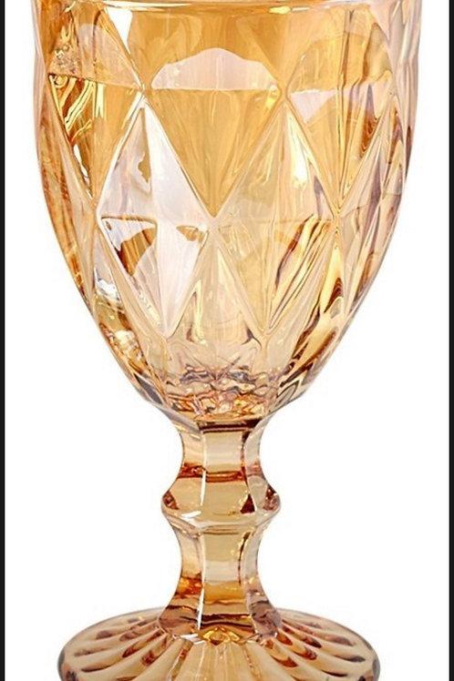 Taça de Água de Vidro Diamond Ambar Metalizado 260ml 7394 Lyor