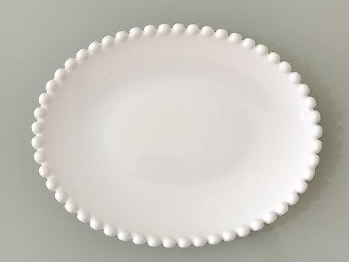 Mini bandeja branca bolinha oval