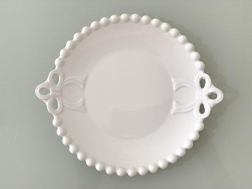 Mini pratinho laço bolinha branco