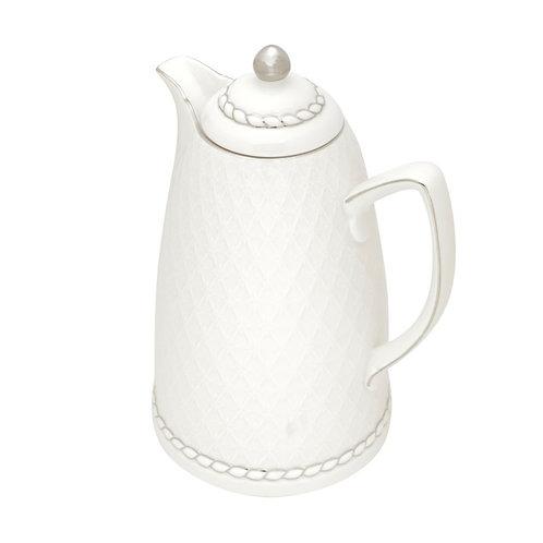 Garrafa Térmica Porcelana Branco Prata Renda