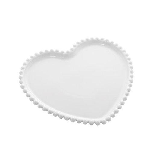Prato Porcelana Coração Beads Branco 25x22x2cm  Bon Gourmet