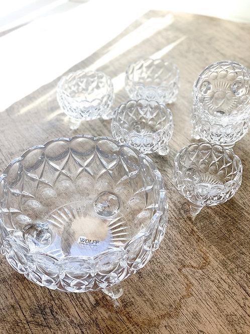 Cj com Centro de Mesa  Angelica e 6 bowls de Cristal Angelica