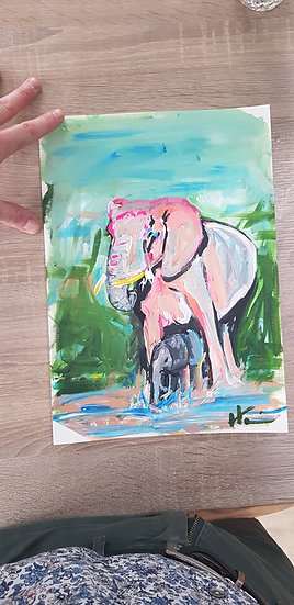 Elephant mother and baby by waterhole.  Acrylic on paper
