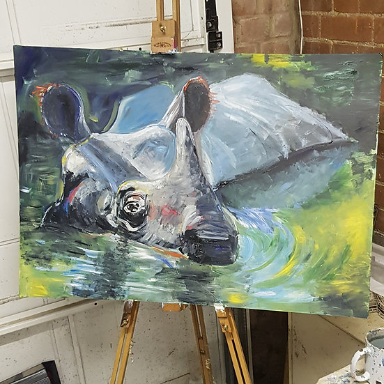Indian one horned rhino.  Acrylic on foam, framed.   board