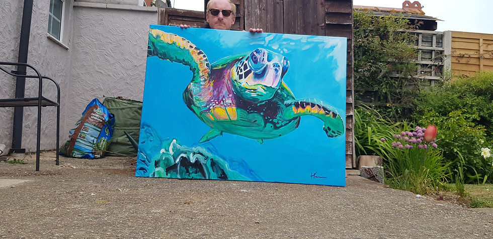Sea turtle.   120 by 90cm SOLD