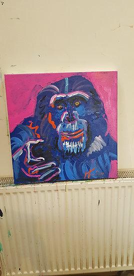 Beckoning chimpanzee.  Acrylic