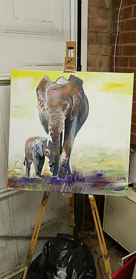 Elephant mother and baby.  #SOLD