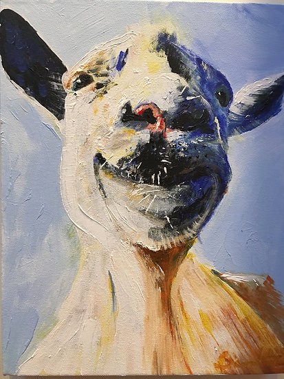 The happy goat.   Acrylic on canvas.   SOLD