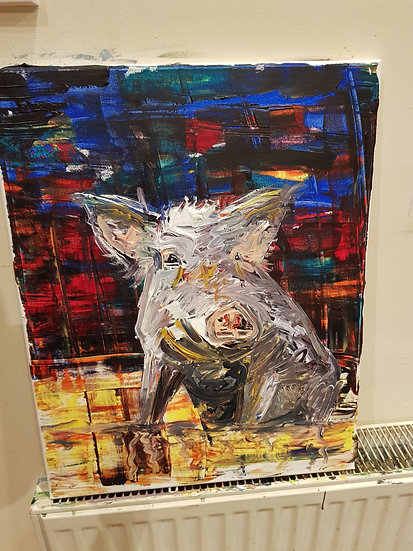 Happy as a pig. Print,  signed
