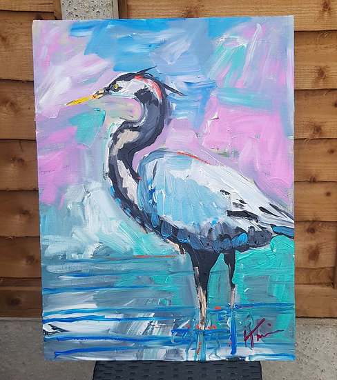 Grey Heron.   Acrylic on canvas board
