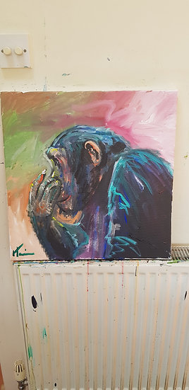 Acrylic colourful chimp.  SOLD.  Signed prints available