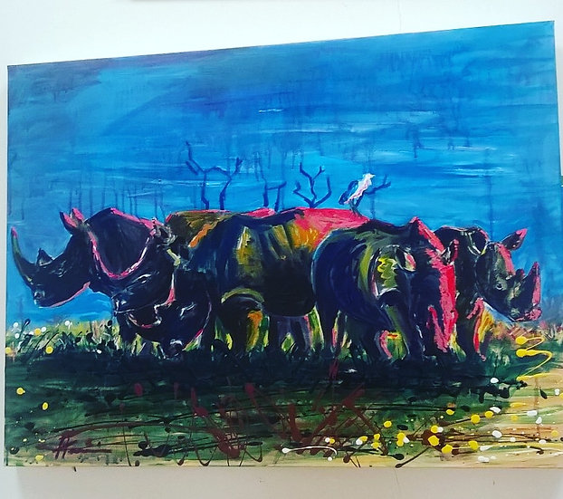 Rhinos at sunset.  SOLD