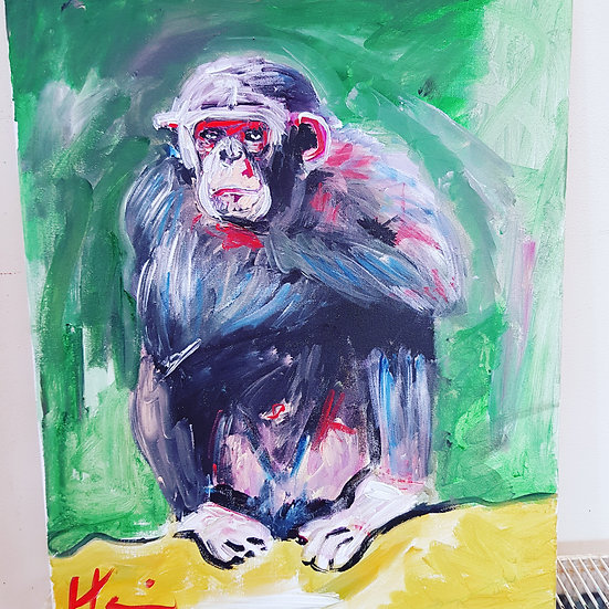 Sitting chimp.