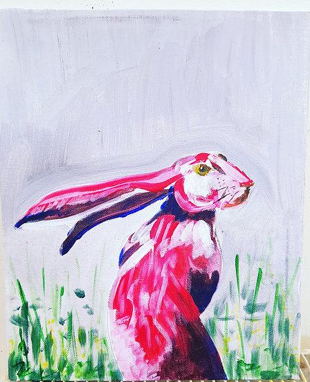 Hare. Print of original, signed.
