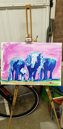 Group of elephants, impression.