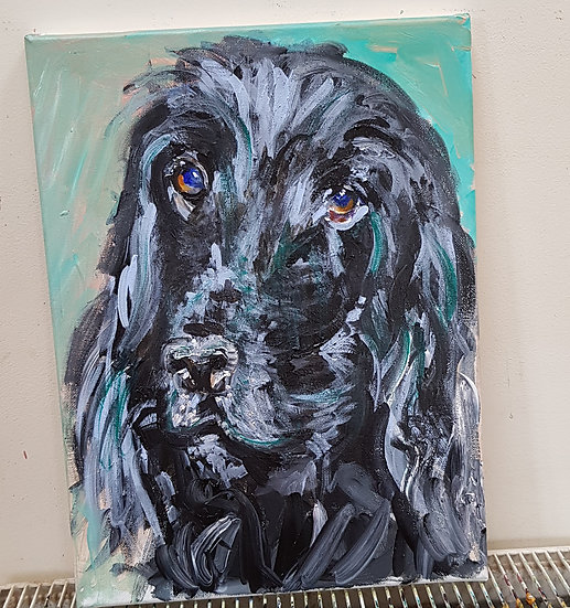 Commission of pet spaniel.  SOLD