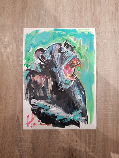 Chimp in forest