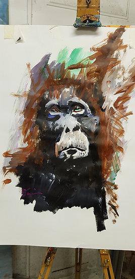 Orangutan.   Acrylic on paper.  Framed