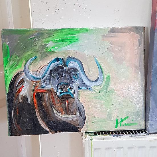 Semi abstract water buffalo.   Acrylic on canvas.