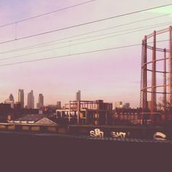 Misty morning train journey