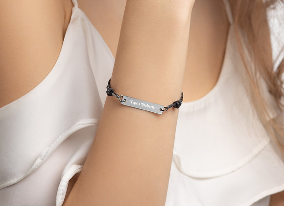 Type 1 Diabetic Engraved Silver Bar String Bracelet