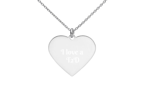 'I love a T2D' Engraved Silver Heart Necklace
