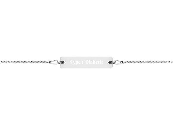 Type 1 Diabetic Engraved Silver Bar Chain Bracelet