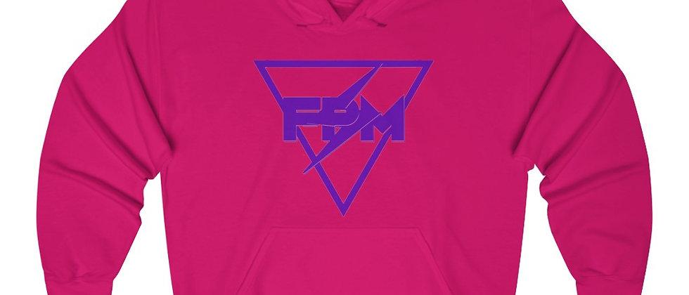 Full Power Muzik logo in Purple Unisex Heavy Blend™ Hooded Sweatshirt