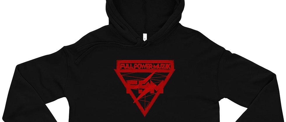 Full Power Muzik Red Logo Crop Hoodie