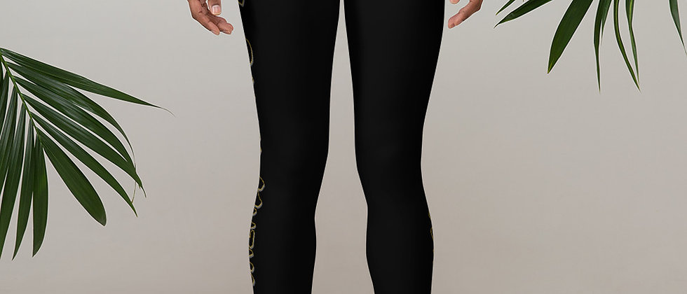 FULL POWER MUZIK BLACK & GOLD LOGO Leggings