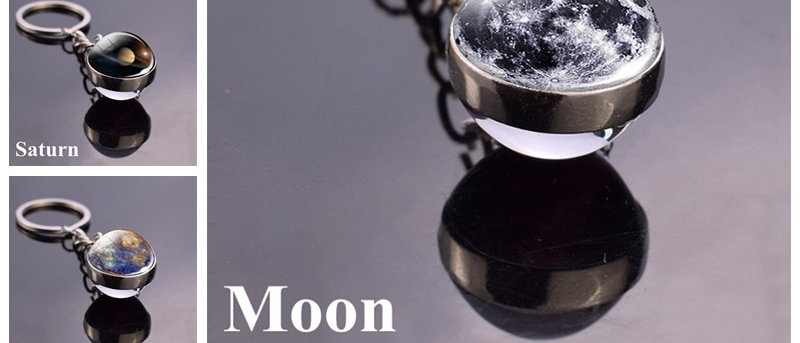 Solar System Planet Double Side Glass Ball Key Chain