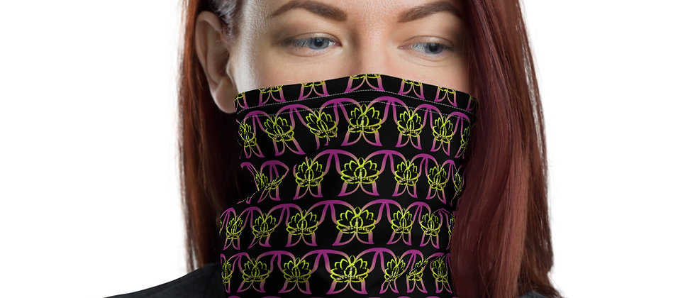 Neck Gaiter Black with butterfly lotus print