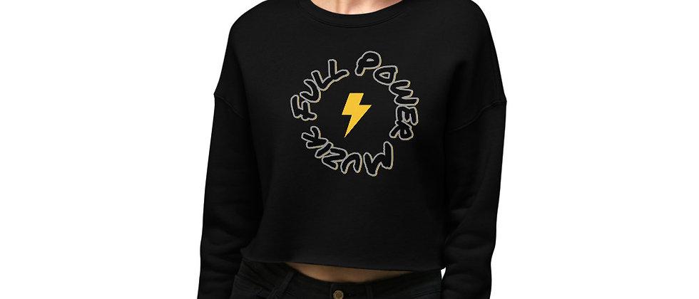Full Power Muzik Black & Gold Logo Crop Sweatshirt