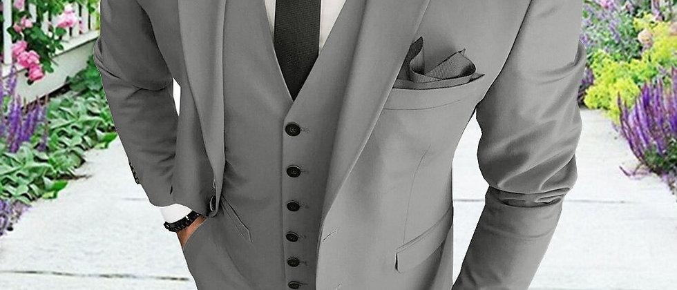 Tuxedos Solid Blazer +Vest + Pants