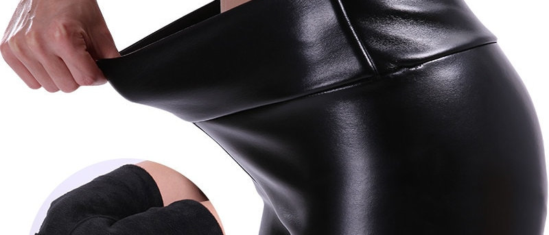 S-5xl Women Plus Size  Leather Pants  Velvet Pant High Waist Trousers