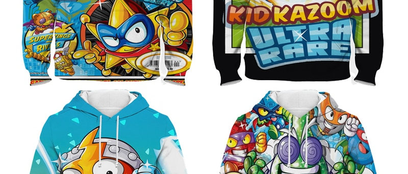 Children Super Zings Hoodie Boys Girls Cartoon 3D Printed Pullovers